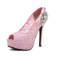 Women's Heels Spring Summer Fall Slingback Lace Wedding Outdoor Office & Career Dress Casual Party & Evening Stiletto Heel Hollow-outPink