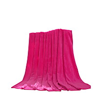 Flannel Pink,Solid Solid 100% Polyester Blankets 200x230cm