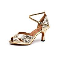 Customizable Women's Dance Shoes Leather Leather Latin Sandals Stiletto Heel Practice / Beginner / Professional / Indoor / Performance