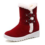 נשים-מגפיים-PU פרווה-נוחות-שחור אדום-יומיומי-פלטפורמה