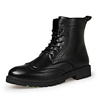 Støvler-PU-Komfort-Herre-Sort / Brun-Hverdag-Flad hæl