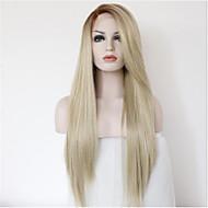 długa prosta ombre naturalna czarna root blond koronki przodu peruka peruk syntetycznych włosów dla kobiet pół strony powiązane