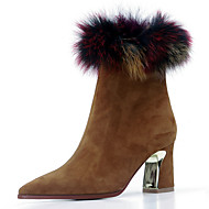 Women's Boots Fall / Winter Others Fur / Cashmere Party & Evening / Dress / Casual Chunky Heel Fur / Zipper Black / Yellow / Purple / Red