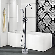 Contemporary / Art Deco/Retro /  Floor Standing / Pullout Spray with  Ceramic Valve Two Handles One Hole