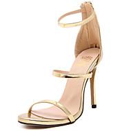 Women's Heels Spring / Summer Comfort Casual Stiletto Heel Zipper Black / Silver / Gold / Nude Walking