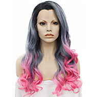 IMSTYLE 24''New Arrival Drag Queen Heat Resistant Grey Pink Ombre Long Wave Synthetic Wig Lace Front Black Root