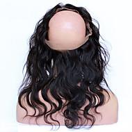360 frontal Ondulation naturelle Cheveux humains Fermeture Brun roux Dentelle Française 75g-95g gramme Moyenne Cap Taille