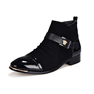 Men's Oxfords Fashion High Top Shoes Casual Leather Shoes Short Boots Low Heel Buckles EU38-42