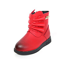 Girl's Boots Fall Winter Comfort PU Casual Dress Flat Heel Ruched Black Red Walking