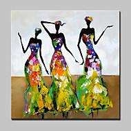 Hånd-malede Mennesker / Abstrakt Portræt Oliemalerier,Moderne Et Panel Canvas Hang-Painted Oliemaleri For Hjem Dekoration