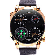 Oulm Men's Fashion Dual Time Zones Quartz Casual Compass Thermometer Watch Big Dial Watch Cool Watch Unique Watch