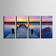 E-HOME® Stretched Canvas Art Riverside Setting Sun Decoration Painting Set of 4