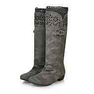 Feminino-Botas-Sapatos com Bolsa Combinando-Salto Grosso-Preto / Amarelo / Cinza / Bege-Courino-Casual / Festas & Noite