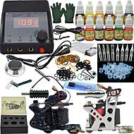 2 xライニングとシェーディング用ロータリー墨機械 LCD電源 50×タトゥー針RL1 1 2×アルミニウムグリップ 10 × 10ml スタータータトゥーキット