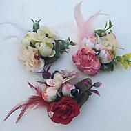 Bouquets de Noiva Rosas Alfinetes de Lapela Casamento Festa / noite Cetim Pele
