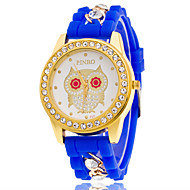 Casual Girls Wrist Watches Of Many Colors Of Silicone Band Quartz Watch With The Rhinestone Watchcase And The Owl Dial