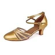Obyčejné-Dámské-Taneční boty-Balet / Latina-Koženka-Kubánský-Stříbrná / Zlatá