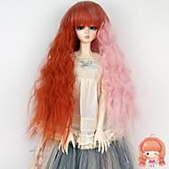 lang krullend kinky rechte pruik oranje roze kleur voor Luts 1/3 1/4 BJD sd dz pop niet voor menselijke volwassen
