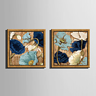 E-HOME® Framed Canvas Art Blue Flower in Bloom Framed Canvas Print Set Of 2