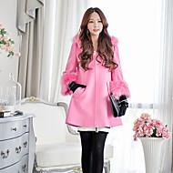 Hætte Langærmet Medium Dame Rosa Ensfarvet Efterår / Vinter Vintage / Street / Sofistikerede I-byen-tøj / Casual/hverdag / Ferie Frakke,