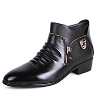 Men's Oxfords Fashion Bootie Comfort High Top Leather Shoes Wedding Shoes Party & Evening Flat Heel Zipper Black