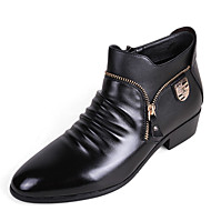 Men's Boots Fall Winter Comfort PU Casual Low Heel Zipper Black