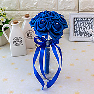 MINI Size PE Foam Rose Flower Round Shape  Bouquets for Bride Wedding 15*10CM7 pcs Head