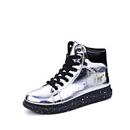 Men's Boots Spring Fall Winter Patent Leather Outdoor Casual Flat Heel Creepers Black Silver