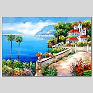 Ručně malované Krajina / Abstraktní krajinka Olejomalby + tisky,Klasický / Středomoří Jeden panel Plátno Hang-malované olejomalba For