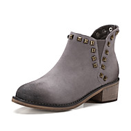 Women's Boots Spring Fall Winter Comfort Suede Office & Career Casual Athletic Chunky Heel Rivet Zipper Black Gray Camel Hiking Walking