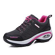 Dames Sneakers Comfortabel Enkelband Lichtzolen Leer Zomer Herfst Buiten Casual Paars Fuchsia Donker Grijs 2,5 - 4,5 cm