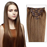 grampo no cabelo humano extensões de cabelo brasileiros ins clipe retas extensões de cabelo 7pcs / 8pcs um conjunto de fotografias de cor