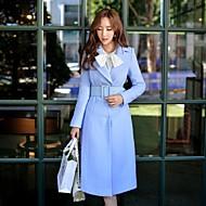Alkalmi / Casual/hétköznapi / Szabadság Vintage / Csinos / Ízléses Őszi / Téli-Női Kabát,Egyszínű Hasított rever Hosszú ujj KékGyapjú /