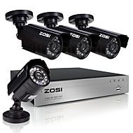 4pcs מקליט וידאו 720p zosi®8ch 1.0mp מצלמת השגחה בבית האבטחה