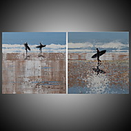 Surfing On the Seaside Abstract Figure Decorated Wall Art Handmade Painting Blue Art Acrylic Stretchered R2H
