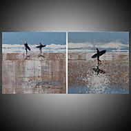 Ručně malované Abstraktní / Krajina olejomalby,Moderní / Středomoří Dva panely Plátno Hang-malované olejomalba For Home dekorace