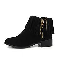 Bootsit-Leveä korko Block Heel-Naiset-Kiiltonahka Tekonahka-Musta Beesi Keltainen-Häät Toimisto Rento Juhlat Puku-Platform Comfort Uutuus