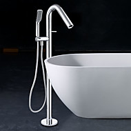 Zeitgenössisch bodenmontiert Bodenstand with  Keramisches Ventil Einzigen Handgriff Zwei Löcher for  Chrom , Badewannenarmaturen