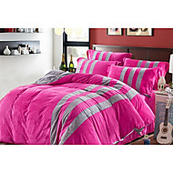 Solid Duvet Cover Sets 4 Piece Polyester Contemporary Reactive Print Polyester Queen 1pc Duvet Cover / 2pcs Shams / 1pc Flat Sheet
