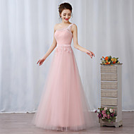 Cocktail Party Formal Evening Dress - Elegant A-line One Shoulder Floor-length Lace Tulle withAppliques Embroidery Flower(s) Ruffles Sash
