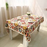 Rectangular Floral Table Cloth , Linen / Cotton Blend Material Table Decoration / Home Decoration