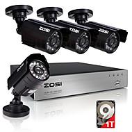 zosi®8ch 4pcs מקליט 720p וידאו 1.0mp HDD 1TB ערכות למעקב בבית מצלמת אבטחה