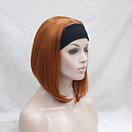 nieuwe mode 3/4 pruik met hoofdband oranje bruin kort synthetische half pruik