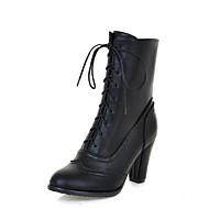 Bootsit-Leveä korko Platform-Naisten-Kiiltonahka Tekonahka-Musta Keltainen Beesi-Häät Toimisto Puku Rento Juhlat-Platform Comfort Uutuus