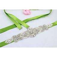 Satin Wedding / Party/ Evening / Dailywear Sash-Beading / Rhinestone / Imitation Pearl Women's 98 ½in(250cm)Beading / Rhinestone /