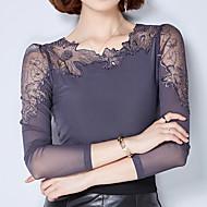 Dames Eenvoudig Herfst T-shirt,Uitgaan / Casual/Dagelijks Effen Assymmetrisch Lange mouw Zwart / Grijs Polyester Medium