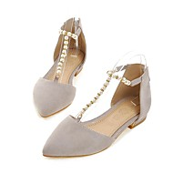 Women's Sandals Spring Summer Fall Comfort Mary Jane Ankle Strap Fleece Casual Athletic Party & Evening Low Heel Pearl ZipperBlack Beige