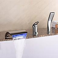 Kortárs Elterjedt LED / Vízesés / Kézi zuhanyzót tartalmaz with  Kerámiaszelep Egy fogantyú három lyuk for  Króm , Kád csaptelep