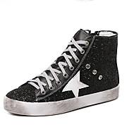 נשים-נעלי ספורט-סוויד-נוחות-שחור / כסוף-קז'ואל