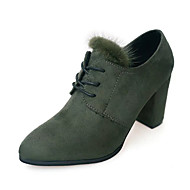 Women's Boots Fall Winter Comfort Suede Dress Casual Chunky Heel Lace-up Black Green